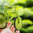 Hand Holding handcraft green bicycle — Stock Photo
