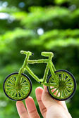 Hand Holding Eco bicycle icon — Stock Photo