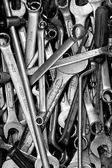 Assorted old hand tools background — Stock Photo