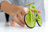 Green bicycle icon — Stock Photo