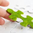 Hand holding a green puzzle piece — Stock Photo #36858633