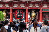 The giant red lantern in the Senso-ji Temple — Stok fotoğraf