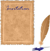 Ancient parchment and writing feather on a white background — Stock Vector
