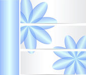 Set of three banners with blue flowers — Stock Vector