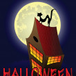 Royalty-Free Stock Vector Image: Halloween background with house, cat and the moon