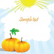 Two pumpkins and leaves in the sun — Stock Vector