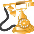 Vector de stock : Vintage Golden Telephone