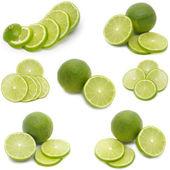 Conjunto de rodajas de limón aislado en blanco — Foto de Stock