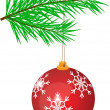 Stockvector : Fir twig and Christmas ball, isolated