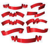 Set of different red ribbons — Stock Vector