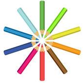 коллекция цветных карандашей в круге — Cтоковый вектор