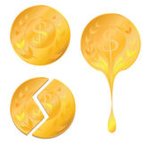 Three types of golden coin — Stock Vector