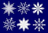Conjunto de copos de nieve blancas, ilustración vectorial — Vector de stock