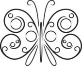 Decorative black and white butterfly — Stock Vector