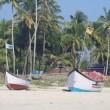 Stock Photo: Fishing boats in tropical beach, Goa
