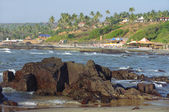 Rocky coast of Arabian sea in Goa — Stock Photo