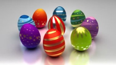 Easter Eggs Turning Around — Vídeo Stock