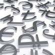 Scattered Currency Symbols — Stock Photo