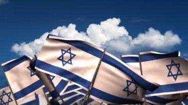 Waving Israeli Flags — Stock Video
