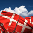 Waving Danish Flags — Stock Video