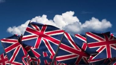 Waving United Kingdom Flags — Stock Video