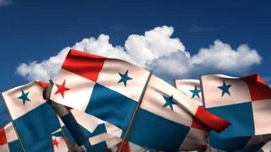 Waving Panamanian Flags — Stock Video