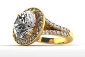 Diamond Ring on White — Stock Photo