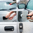 Stock Photo: Snowy frozen car set