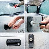 Zasněžené zamrzlém autě sada — Stock fotografie