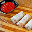 Stock Photo: Spring rolls and sauce