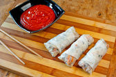 Spring rolls and sauce — Stock Photo
