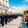 Infantry parade near Royal Palace in Madrid — Stock Photo