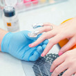 Removing manicure with acetone — Stock Photo