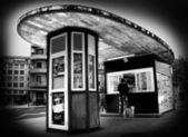 Kiosk and dog — Stock Photo