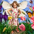 Cute little girl with butterfly wings in flowers - Stock Photo