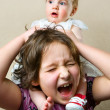 Girl sitting by her sister's neck — Stock Photo