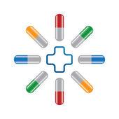 Set of pills whit cross . — Stock Vector
