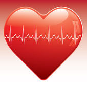 Heart with ekg . — Vector de stock