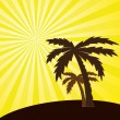 Vector illustration of a tropical sunset and palm trees. - Vettoriali Stock