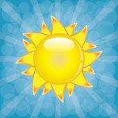 Big shining summer sun with sunbeams on the sky. — Stock Vector