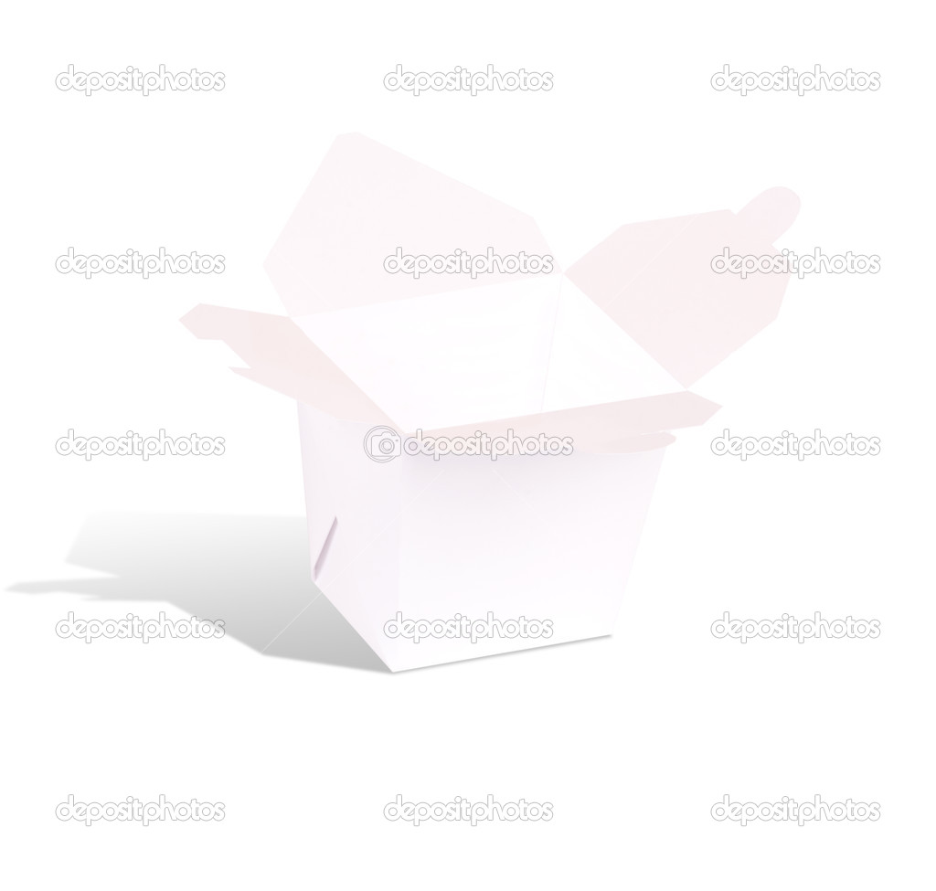 Blank Chinese food container isolated on a white background  Stock Photo #12619002