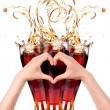 Stock Photo: Love coke with ice concept