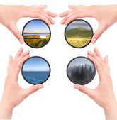 Set of landscapes throw camera filter isolated — Stock Photo