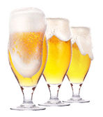 Frosty glass of light beer isolated — Stock Photo