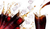 Fresh coke background with ice — Stock Photo