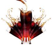Fresh coke background with ice — Stock Photo