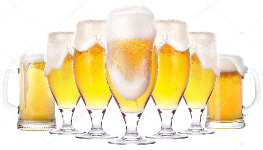 Frosty glass of light beer isolated on a white background — Photo #13511672