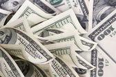Fundo com notas de dólares de dinheiro americano 100 — Foto Stock