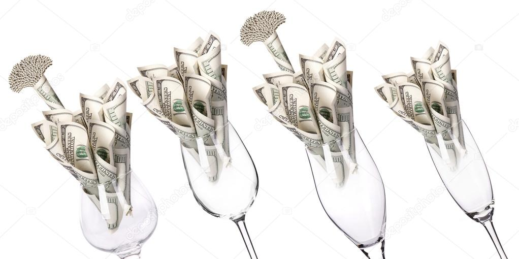 Money Cocktail set business concept present isolated on a white background  Stock Photo #14109993