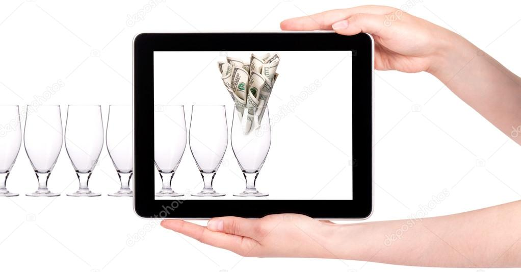Business leader concept with tablet PC screen  isolated on a white background — Stock Photo #14110017